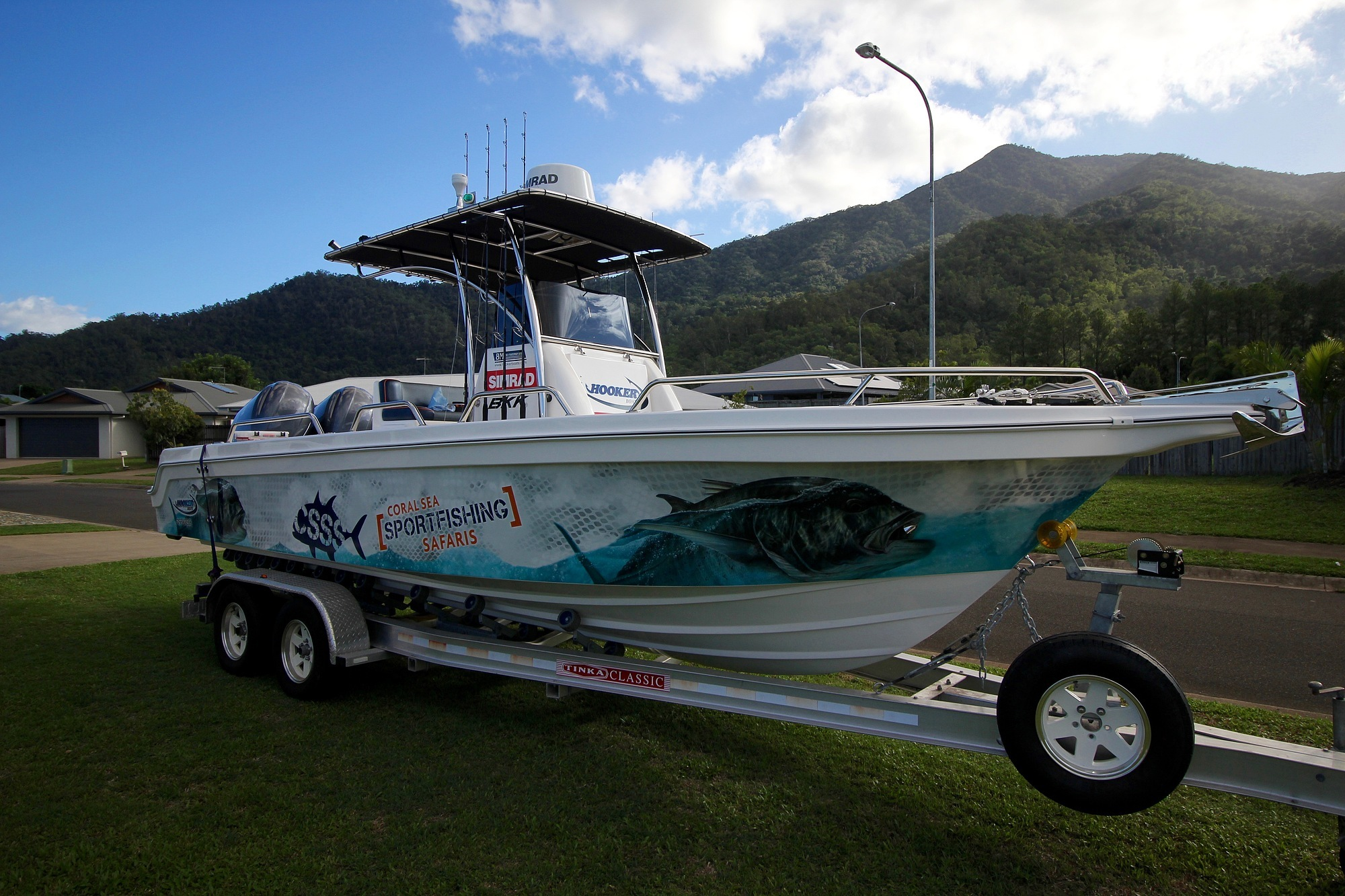 Our custom built weapon of choice Insidious, an 8m Hooker Boats Pro Fisherman Series 2.