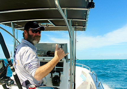 Capt. Harry from Coral Sea Sportfishing Safaris at the helm.