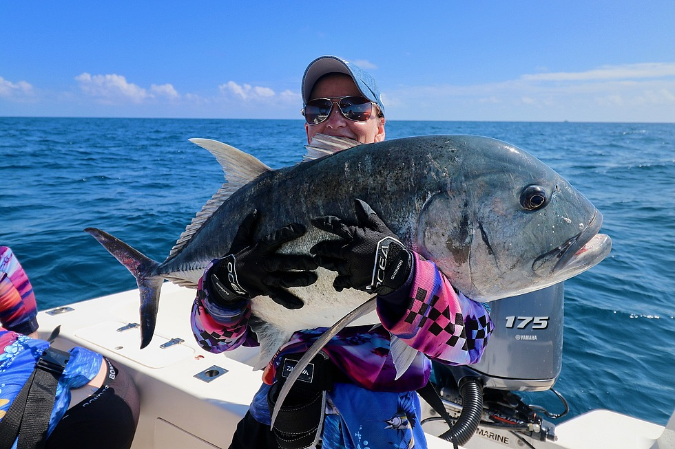 GTs,big smiles, caught on a charter off Cairns